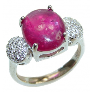 Genuine Kashmir Ruby .925 Sterling Silver handcrafted Statement Ring size 6 1/4