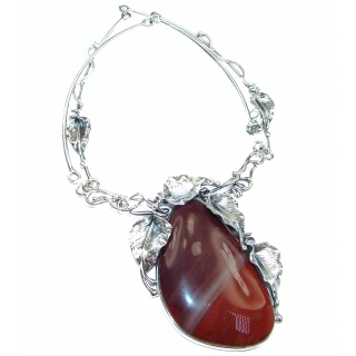 INCREDIBLE- HUGE Floral Design genuine Red Jasper .925 Sterling Silver handcrafted necklace