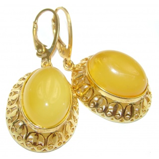 Huge Exclusive Butterscotch Polish Amber .925 Sterling Silver handmade Earrings