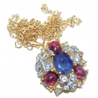 Elegant authentic Sapphire & White Topaz .925 Sterling Silver necklace