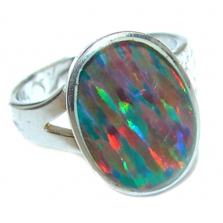 Australian Triplet Opal .925 Sterling Silver handcrafted ring size 5 3/4