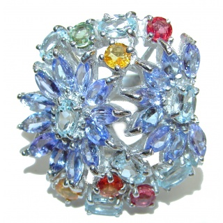 Splendid genuine Tanzanite Aquamarine multicolor Sapphire .925 Sterling Silver Ring size 7