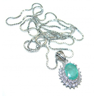 Spectacular Authentic Colombian 1.7ctw Emerald .925 Sterling Silver necklace