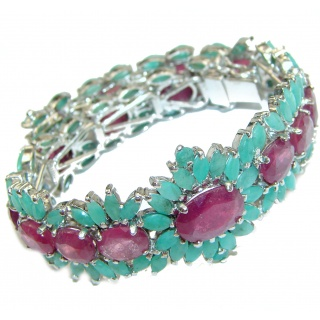 Authentic Red Ruby Emerald .925 Sterling Silver handcrafted Bracelet