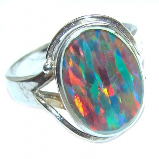 Australian Triplet Opal .925 Sterling Silver handcrafted ring size 7