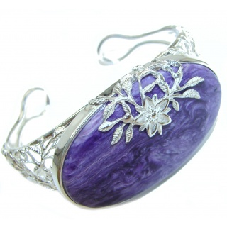 Nature Inspired Design genuine Siberian Charoite .925 Sterling Silver Bracelet / Cuff