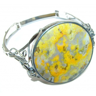 HUGE Genuine Volcanic Bumble Bee Jasper .925 Sterling Silver handcrafted Bracelet