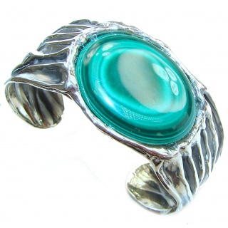 Large Natural Malachite .925 Sterling Silver handcrafted Bracelet / Cuff