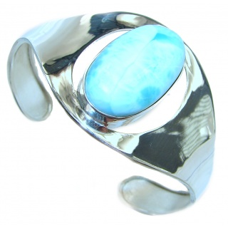 Caribbean best quality Blue Larimar .925 Sterling Silver handcrafted Bracelet / Cuff