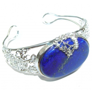 Blue Waves Lapis Lazuli Oxidized Sterling Silver handcrafted Bracelet / Cuff