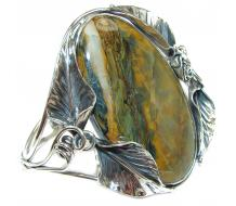 Huge Amazon Rainforest Jasper .925 Sterling Silver handcrafted Statement Bracelet