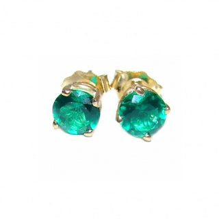 4mm 0.3ctw Colombian Emerald Round Stud Earrings 14Kt Yellow Gold