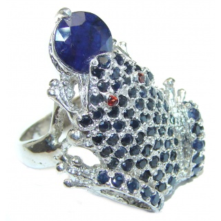 Large Frog Genuine Sapphire .925 Sterling Silver handcrafted Statement Ring size 9