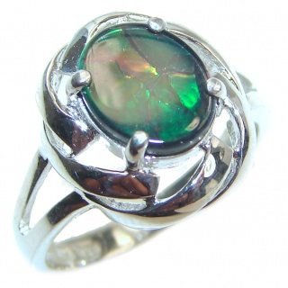 Pure Energy Genuine Canadian Ammolite .925 Sterling Silver handmade ring size 7 3/4