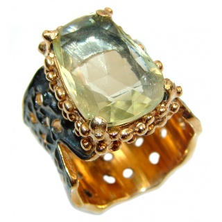 Vintage Style Natural Citrine 14K Gold ocver .925 Sterling Silver handcrafted Ring s. 6 1/4