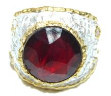 Large 10ctw  genuine Ruby 18K Gold over .925 Sterling Silver Statement Italy made ring; s. 8
