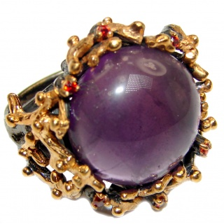 Large Victorian Style genuine Amethyst .925 Sterling Silver handcrafted Ring size 7