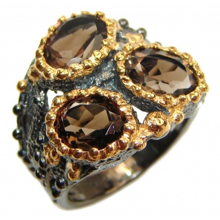 Bold Champagne Smoky Topaz 14K Gold over .925 Sterling Silver Ring size 6 1/2