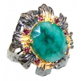 Victorian Style Emerald & Garnet 14K Gold over .925 Sterling Silver Ring s. 7 1/4