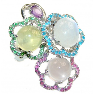 Pastel Bouquet Large Multigem .925 Sterling Silver handcrafted ring size 9 3/4