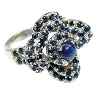 Adele Genuine Sapphire .925 Sterling Silver handmade Cocktail Ring s. 7 3/4