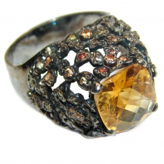 Vintage Style Natural Citrine Sapphire black rhodium over .925 Sterling Silver handcrafted Ring s. 9