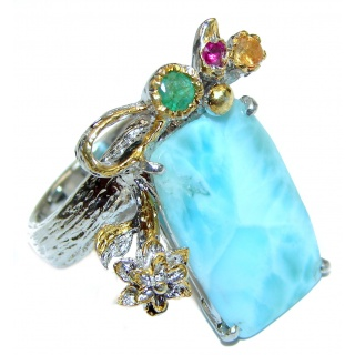 Real Beauty Natural Larimar Ruby Emerald .925 Sterling Silver handcrafted Large Ring s. 10 1/4