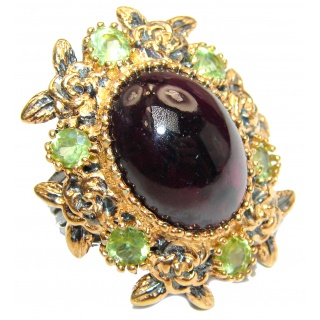 Large Genuine Garnet 24K Gold over .925 Sterling Silver handcrafted Statement Ring size 6