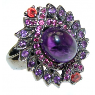 Victorian Style genuine Amethyst black rhodium over .925 Sterling Silver handcrafted Ring size 8 1/4