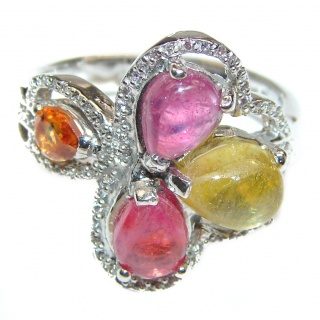 Vintage Style Natural Ruby Sapphire .925 Sterling Silver handcrafted Ring s. 9 1/2