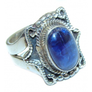Huge Natural African Kyanite .925 Sterling Silver handcrafted ring size 7