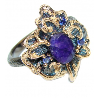 Vintage Style Sapphire 14K Gold over .925 Sterling Silver handcrafted ring; s. 8 1/4