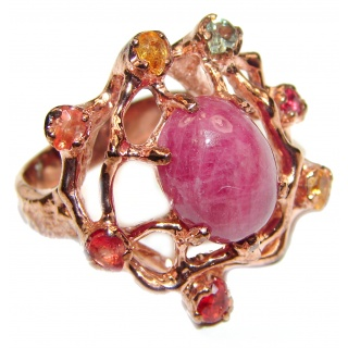 Vintage Beauty genuine Ruby 18K Gold over .925 Sterling Silver Statement handcrafted ring; s. 8 3/4