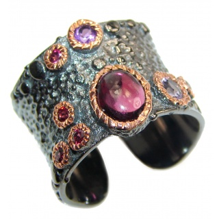 Palette of colors Garnet black rhodium over .925 Sterling Silver Ring size 7 adjustable