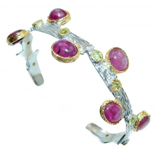 Posh authentic Red Ruby 18k Gold over .925 Sterling Silver handcrafted Statement Bracelet / Cuff