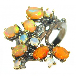 Fancy Mexican Opal Ethiopian Opal black rhodium over .925 Sterling Silver handcrafted ring size 8 1/4