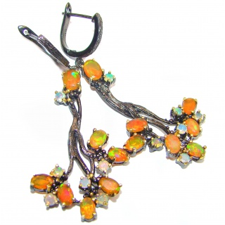 Earth Treasure Authentic Mexican Fire Opal .925 Sterling Silver handcrafted LARGE statement earrings