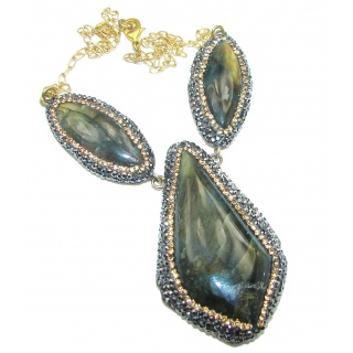 Chunky Cascade of Lights Labradorite .925 Sterling Silver entirely handcrafted necklace