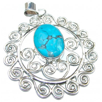 Huge Genuine Turquoise .925 Sterling Silver handcrafted Pendant