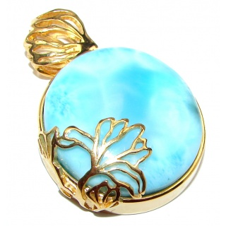 Blue Moon Authentic AAAAAA Caribbean Larimar 18K Gold over .925 Sterling Silver handmade pendant