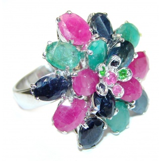 Vintage Beauty genuine Ruby Emerald Sapphire .925 Sterling Silver Statement handcrafted ring; s. 8