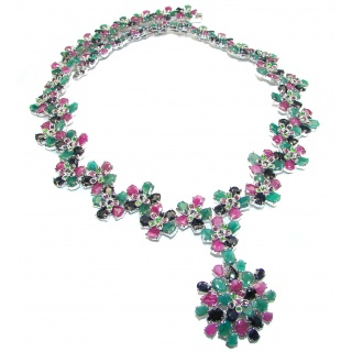 Huge Royal quality authentic Ruby Emerald Sapphire .925 Sterling Silver handcarfted necklace