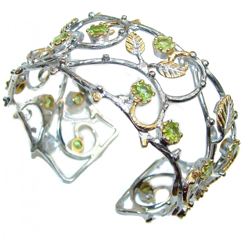 Forget-Me-Not genuine Peridot 14K Gold over .925 Sterling Silver handcrafted Bracelet / Cuff