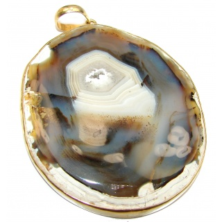 Huge 88.8 grams! Botswana Agate Gold plated over Sterling Silver handcrafted Pendant