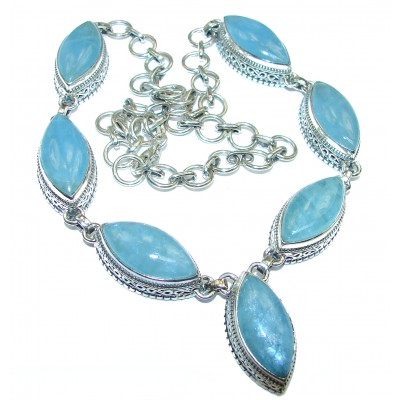 Huge Vintage Style authentic Blue Aquamarine Sterling Silver hand made necklace