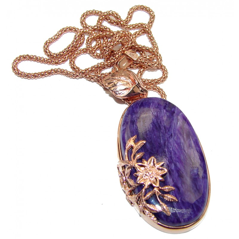 Great Quality Siberian Purple Charoite Rose Gold over .925 Sterling Silver handmade Necklace