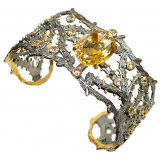 Chunky Genuine Citrine 14k Gold Rhodium over .925 Sterling Silver Bracelet / Cuff
