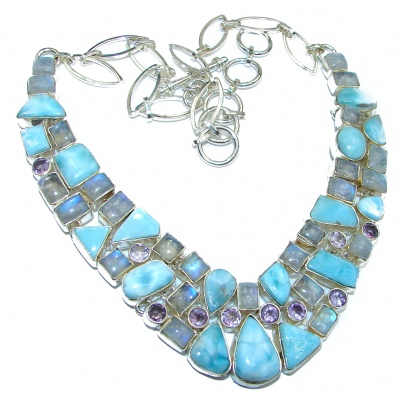 Large Cielito Lindo Chunky Larimar Moonstone .925 Sterling Silver handcrafted necklace