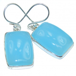 Simple Design excellent Chalcedony Agate .925 Sterling Silver earrings
