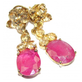 Vintage Style Authentic Ruby Citrine .925 Sterling Silver handmade earrings